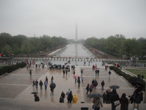 View from the steps of the Lincoln Memorial on a rainy day in Spring.